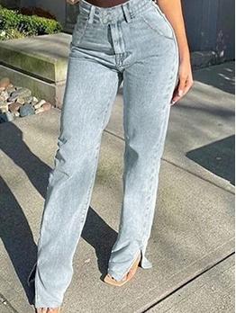 Trendy Split Hem High Rise Jeans