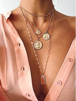 Geometric Pendant Multi Layered Chain Necklace