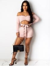 Waist Cut Off Shoulder Long Sleeve Mini Dress