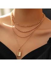 Lock Pendant Glossy Chain Multi Layer Necklace