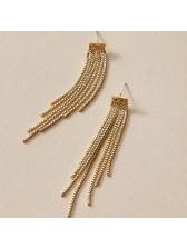 Elegant Glossy Color Tassel Long Earrings