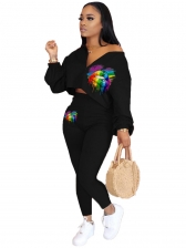 Pride Lips Printed Long Sleeve Two Piece Sets