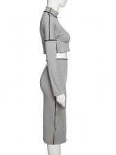 Mock Neck Long Sleeve Crop Top And Skirt Set
