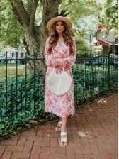 Fresh Floral V Neck Long Sleeve Maxi Dresses