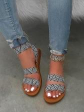 Geometric Print Peep-Toe Women Flat Sandals