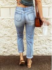 Hand Wash Hollow Out Women Denim Long Pants