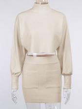 High Neck Fashion Two Pieces Skirt Set