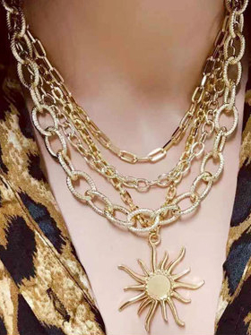 Sun Shape Pendant Layered Chain Necklace