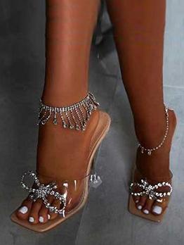 Rhinestone Bowknot Heel Slippers For Ladies