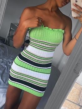 Stringy Selvedge Striped Strapless Dress