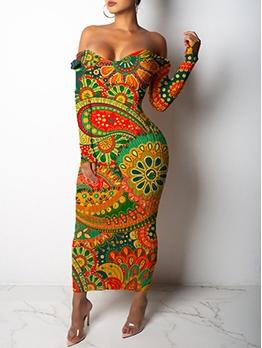 Sexy Boat Neck Printed Women Maxi Dress