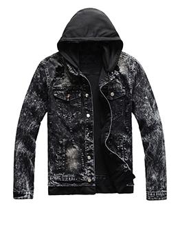Trendy Printed Detachable Hooded Denim Jacket