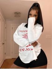 Print White Split Hem Women Sweatshirt