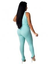 Split Hem Solid Color Sleeveless Skinny Trouser Set