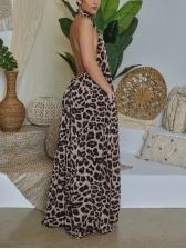 Leopard Print Halter Neck Backless Sexy Maxi Dress