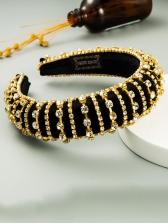 Twinkling Rhinestones Velvet Patchwork Wide Headband