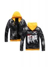Contrast Color Printed Detachable Hooded Denim Jacket