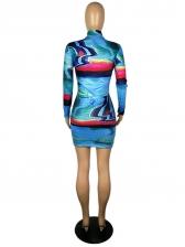 Euro Printed Long Sleeve Ladies Dress