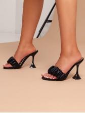 Solid Goblet Heel Women Heeled Slippers