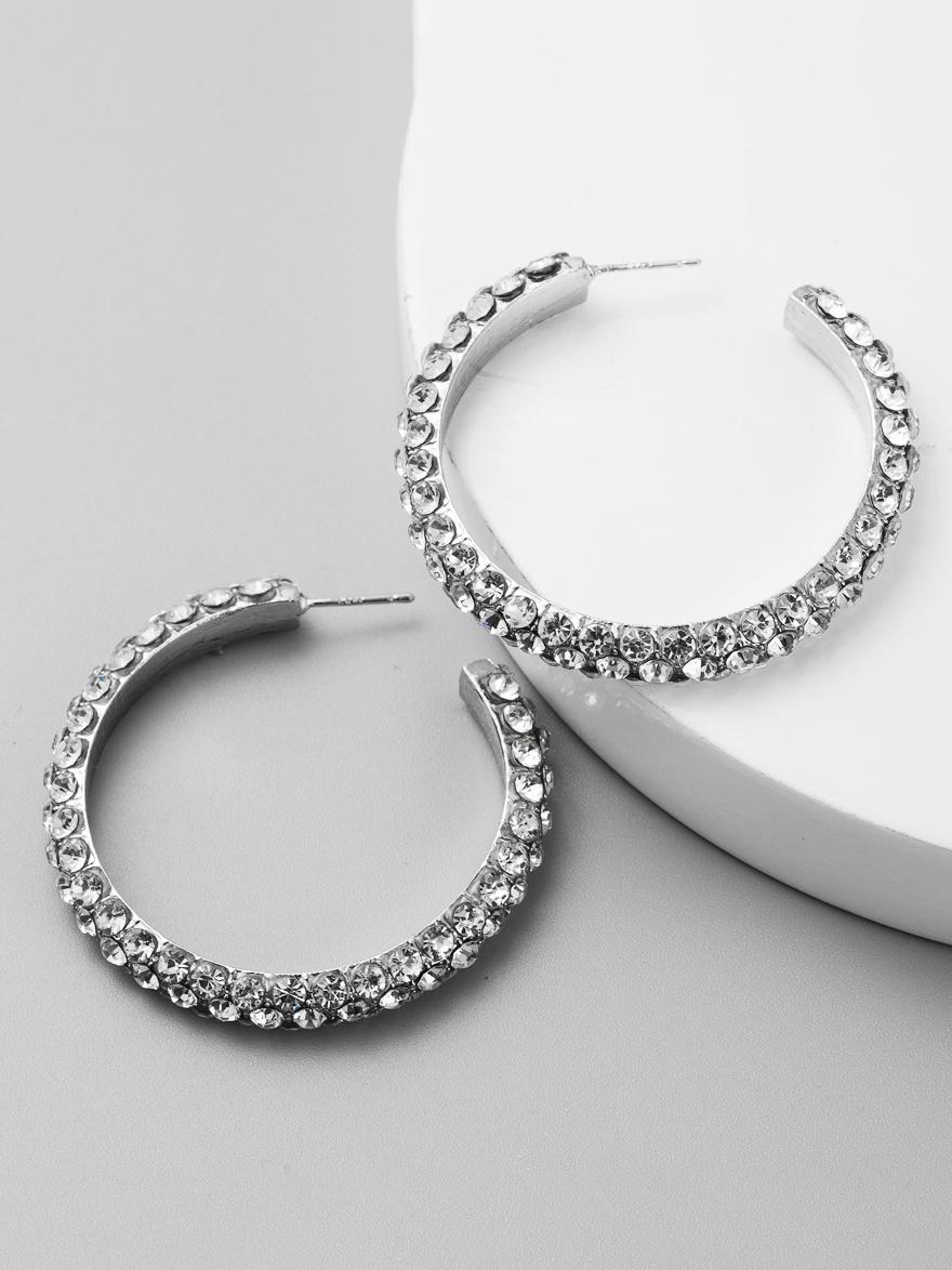 Tiny Rhinestone Alloy Hoop Earrings For Women