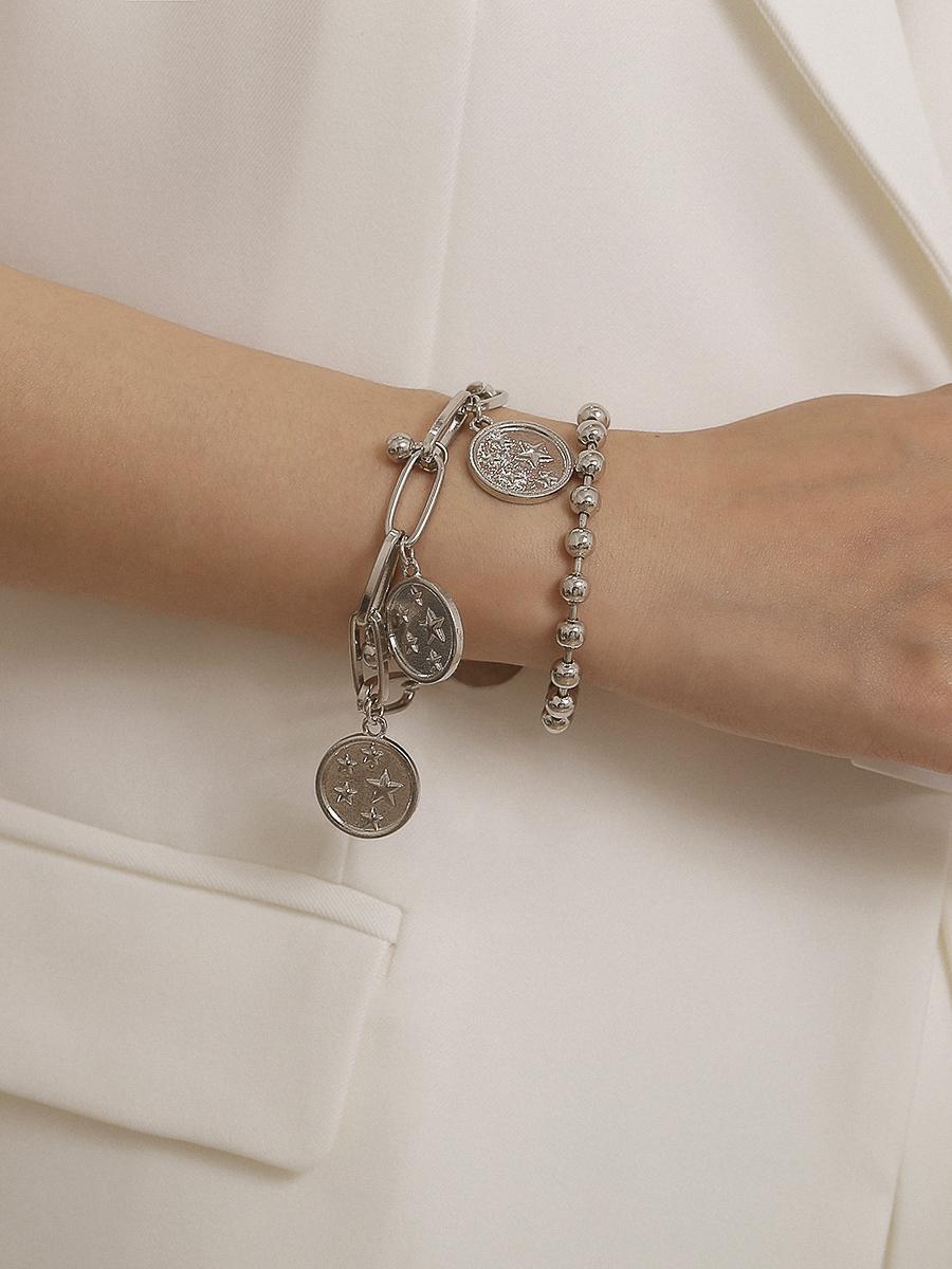 Star-Embossed Beads Solid Color Bracelet Set