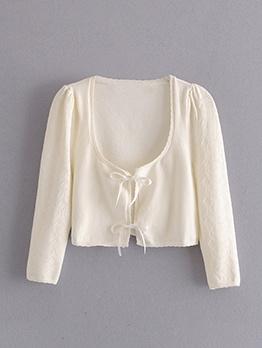 Tie Warp Solid Long Sleeve Cardigan Coat