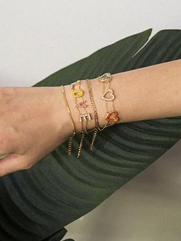 Heart Love Letter Layered Chain Bracelet Set