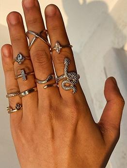 Snake Shape Alloy Vintage Ring Set For Women