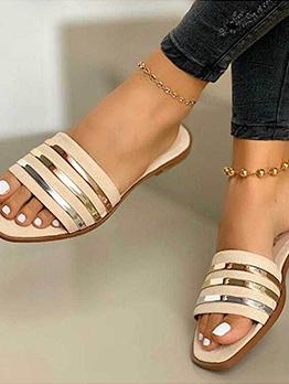 Square Open Toe Women Summer Slippers