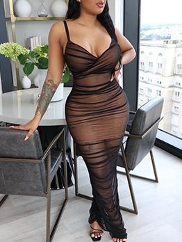 Euro Slip v Neck Sexy Maxi Dresses