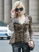 One Buttons Leopard Print Women Blazers