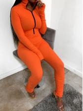 Turtleneck Long Sleeve Skinny Jumpsuit With Zip