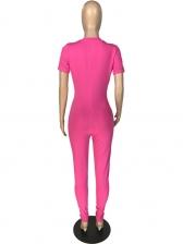 Stand Neck Zipper Up Skinny Summer Jumpsuit