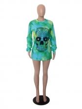 Skull Print Loose Split Hem Women Sweatshirt