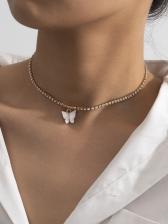 Single Butterfly Rhinestone Short Necklace For Women