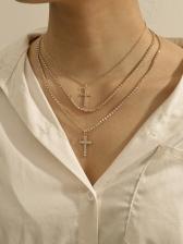 Shiny Rhinestone Cross Pendant Layered Necklace