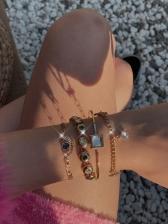 Rhinestone Star Pendant Chain Bracelet Sets