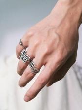 Number Letter Claw Shape Vintage Style Ring Set