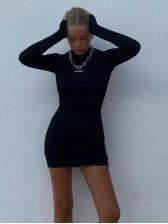 Simple Design Mock Neck Backless Long Sleeve Dress