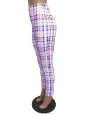 Casual Style High Waist Plaid Pants