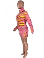 Fashion Printed Zipper Up Long Sleeve Dress