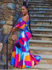 Euro Contrast Color Geometric Printed Maxi Dress