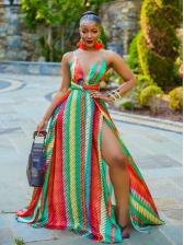 Sexy Color Block Striped Slip Maxi Dress