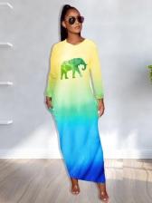 Gradient Color Elephant Pattern Long Sleeve Maxi Dress