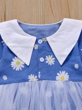 Sunflower Turndown Collar Gauze Patchwork Girl Rompers