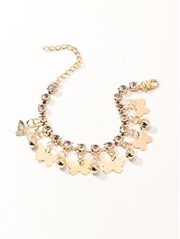 Golden Color Rhinestone Fashion Bell Bracelet