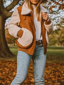 Color Block Suede Long Sleeve Coats For Women