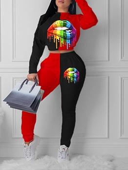 Casual Contrast Color Lip Printed Trouser Set