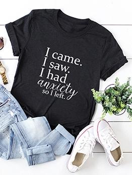Letter Sentences Printing Oversized T Shirt