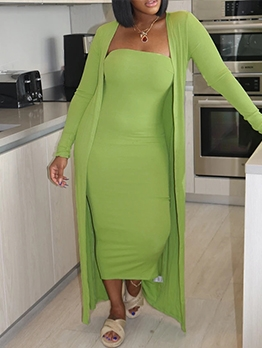 Solid Color Strapless Midi Dress With Long Coat